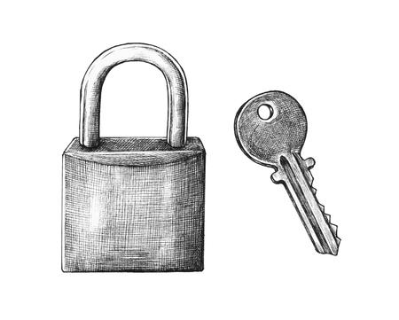 Hand-drawn lock and key illustration Banco de Imagens