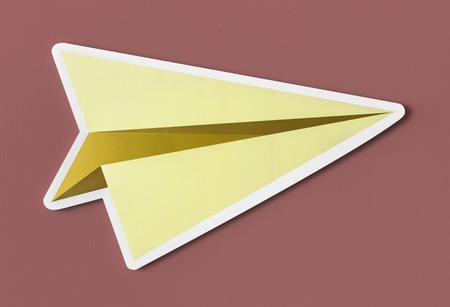 Launching paper plane cut out icon Stok Fotoğraf - 110133936