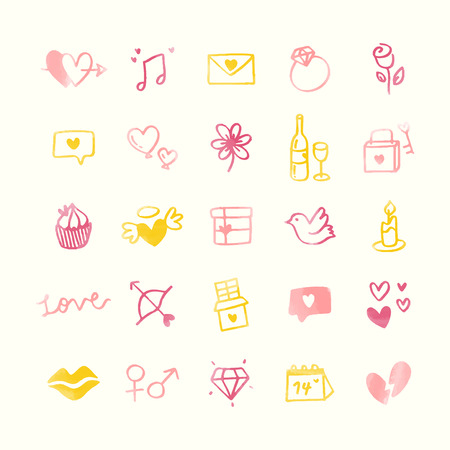 Collection of illustrated valentine's icons Reklamní fotografie