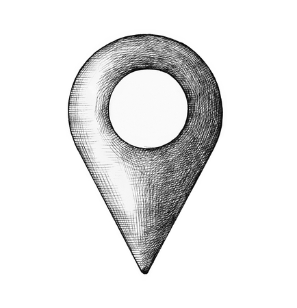 Hand-drawn location pin illustration