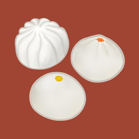 Three Chinese steamed buns illustration Stock Photo