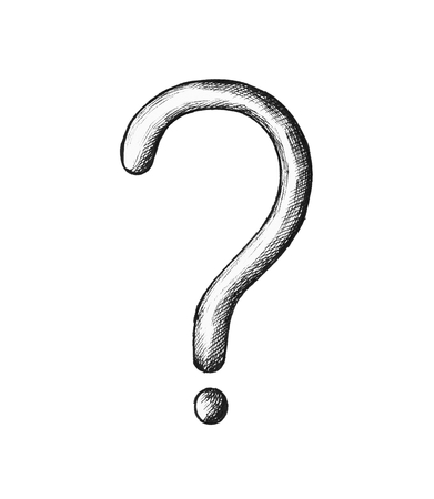 Hand-drawn gray question mark illustration