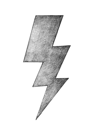 Hand-drawn gray lightning illustratrion