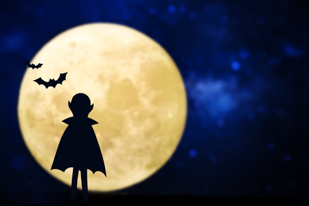 Dracula silhouette over a full moon 版權商用圖片