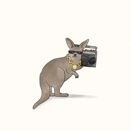 Kangaroo listening to hip hop music