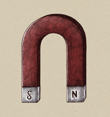 Hand-drawn horseshoe magnet illustration Stock Photo