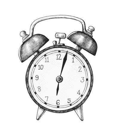 Hand-drawn alarm clock illustration Stock Photo