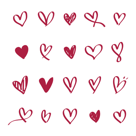 Collection of illustrated heart icons 스톡 콘텐츠