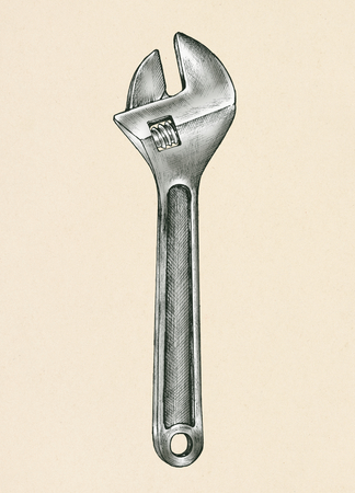 Hand-drawn adjustable wrench illustration