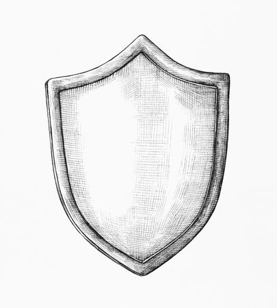 Handgezeichnete graue Schildillustration