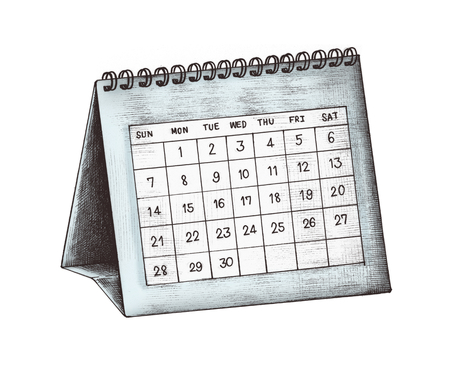 Hand-drawn blue desk calendar illustration Stock Photo