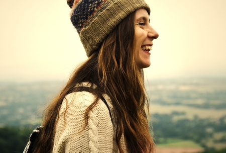 Happy woman outdoors in nature