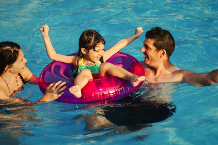 Family playing at a waterpark