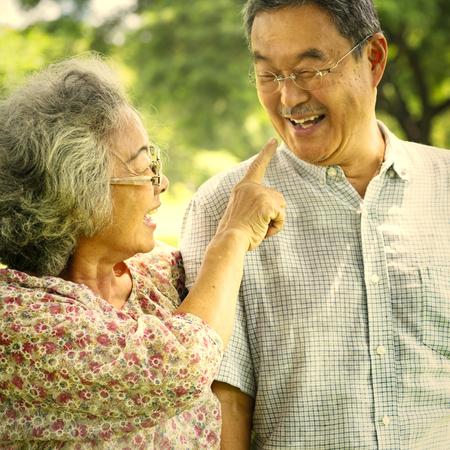 Asian senior couple at the park