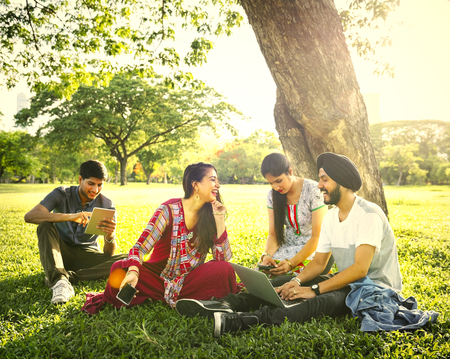 Indian friends relaxing at the park