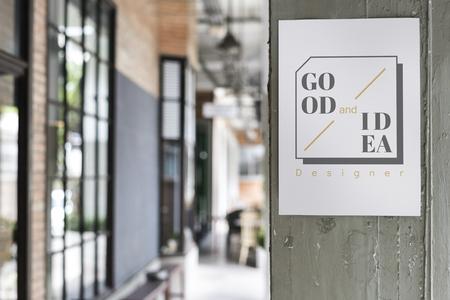Poster outside a coffee shop mockup Banco de Imagens