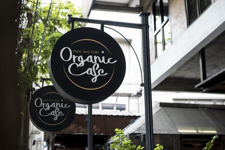 Black sign outside a restaurant mockup Stok Fotoğraf