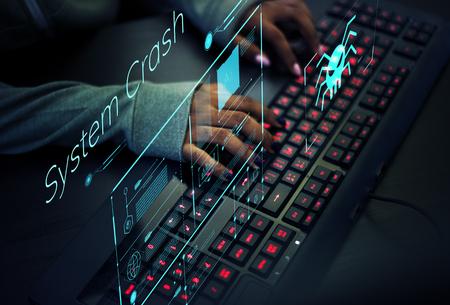 Programmer working to prevent computer virus Stock Photo