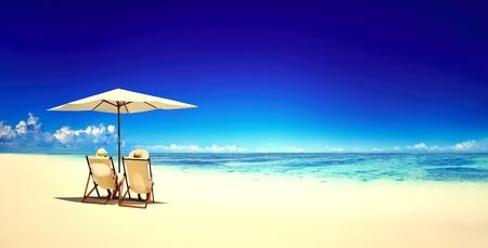 Beach chairs on a tropical beach Stock Photo