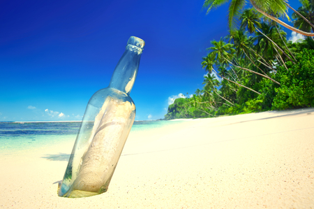Message in a bottle at a tropical beach on Samoa