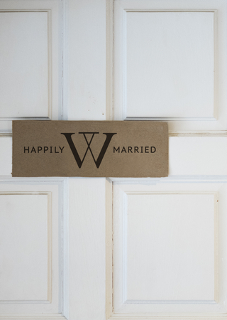 Welcome sign on a white door mockup