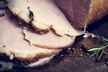 Roasted ham food photography recipe idea