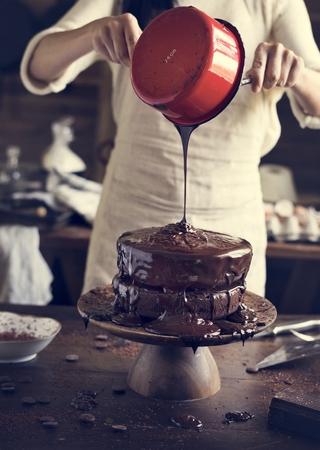 Chocolate cake food photography recipe idea Stock Photo