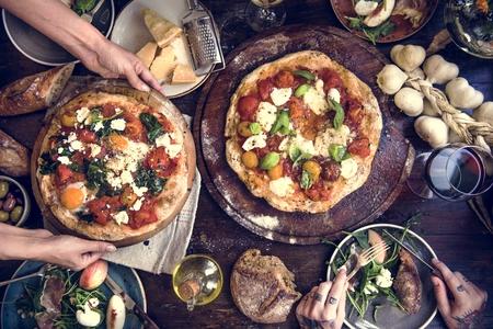 Serving pizza food photography recipe idea 写真素材