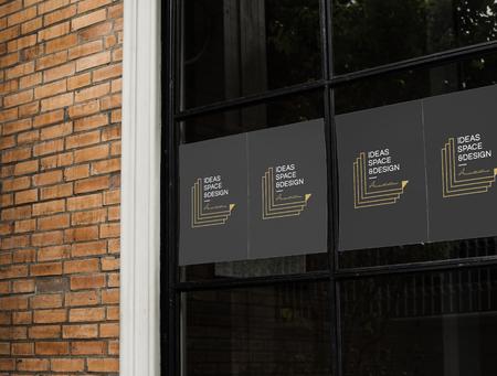 Posters on a black window mockup Stock fotó - 110098225