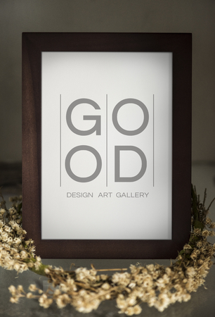 Wooden standing photo frame mockup Фото со стока - 110098439