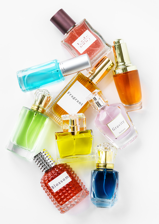 Collection of small perfume bottles 스톡 콘텐츠