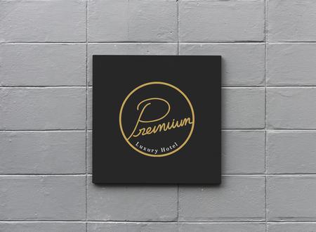 Black sign on a white wall mockup 版權商用圖片 - 110100304