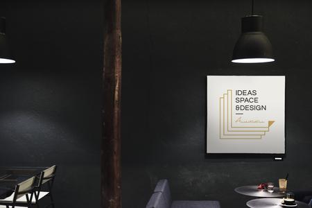 Signboard in a dark restaurant mockup Stock fotó