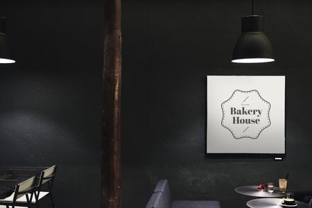 Signboard in a dark restaurant mockup Stok Fotoğraf - 110100625