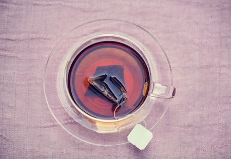 Aerial view of hot tea Stock Photo - 110101755
