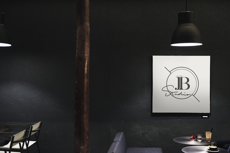Signboard in a dark restaurant mockup Stock Photo