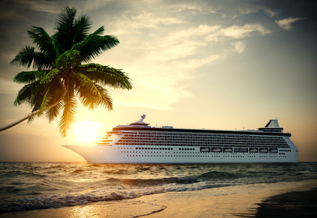 3D cruise ship in tropical waters