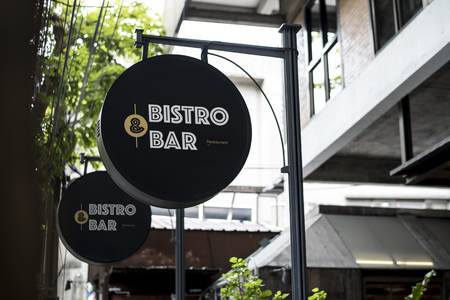 Black sign outside a restaurant mockup Stockfoto