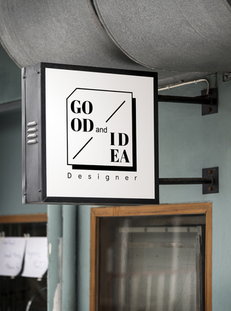 Sign on a modern shop mockup