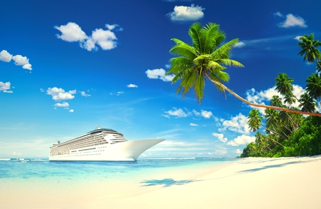 3D cruise ship at a tropical beach Banco de Imagens - 110105069