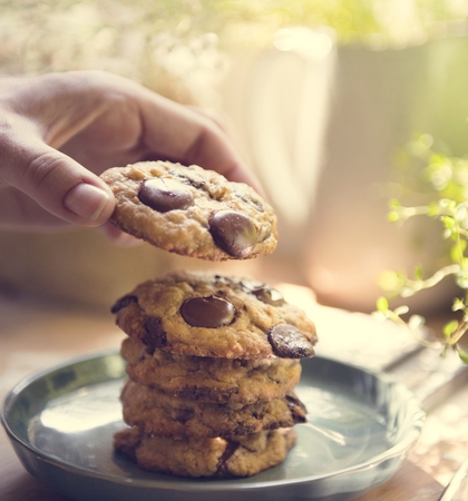 Chocolate chip cookies food photography recipe idea
