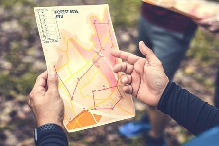 Primo piano della mappa della posizione della scatola di orienteering