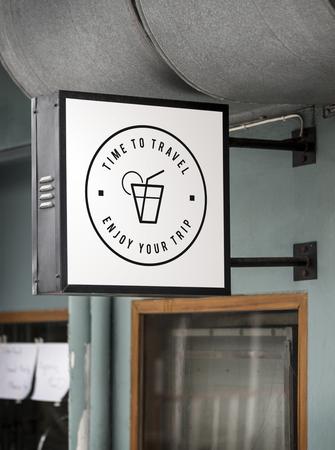 Sign on a modern shop mockup