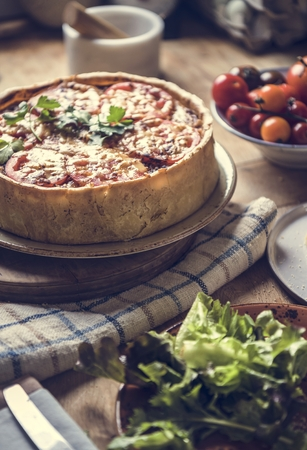 Mushroom quiche food photgraphy recipe idea
