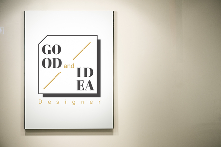 Poster displayed on a wall mockup