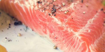 Fresh salmon fillet food photography recipe idea