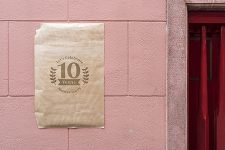Poster on a pink wall mockup