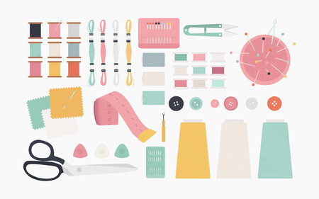 Essential sewing tools icon illustration Stock Photo