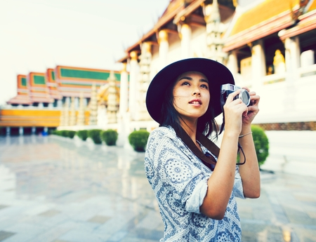 Solo Asian girl traveling in Bangkok Stock Photo