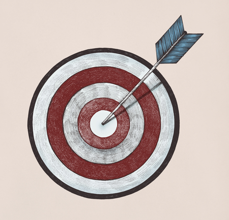 Hand-drawn dartboard and arrow illustration